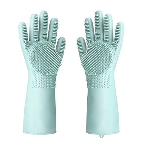 Hohoto Magic Gloves, Silicone Magic Gloves, Silicone Dishwashing Gloves with Scrubber for Dishwashing and Pet Grooming ()