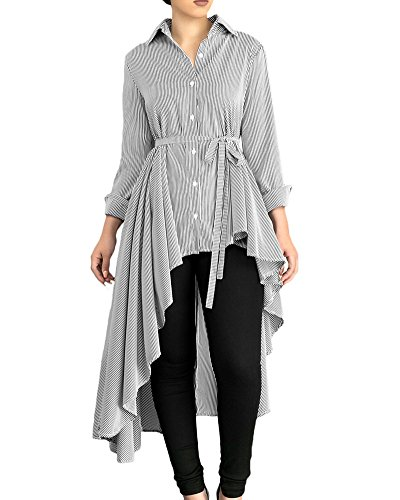 1e2bf5ef300 Moxeay Women Long Sleeve Buttons Down Stripe High Low Shirt with Belt