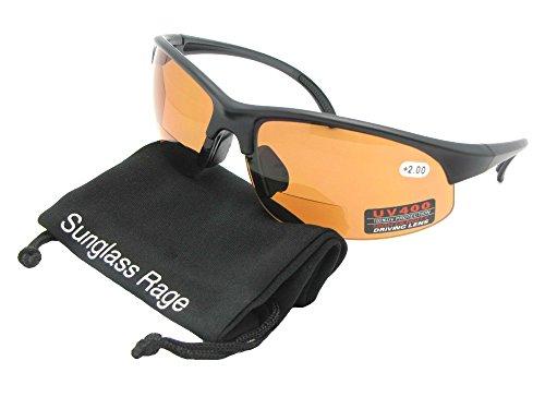 Style B33 Sports Bifocal Sunglasses With Sunglass Rage Pouch (Flat Black Frame-Amber Lenses, 2.00) (Rimless Sunglasses Bifocal)