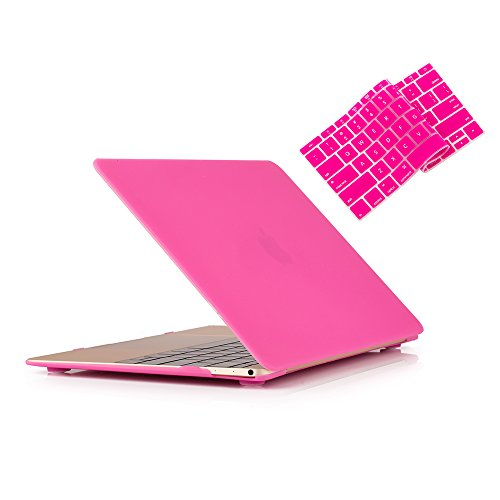 RUBAN MacBook 12 Inch Case Release (A1534) - Slim Snap On Hard Shell Protective Cover and Keyboard Cover for MacBook 12, HOT Pink