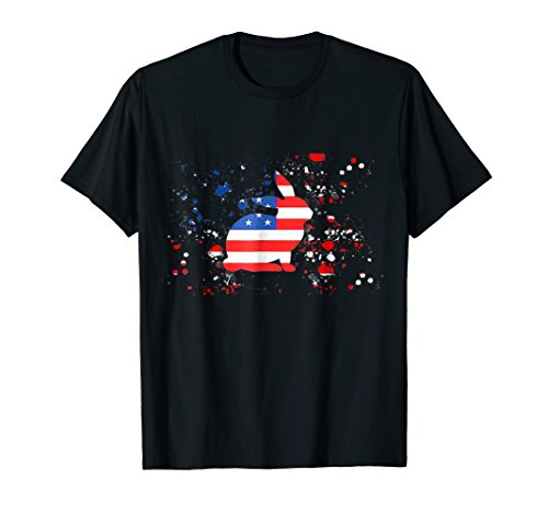 American Bunny - American Flag Bunny Patriotic T Shirt 4th of July Gift Tee