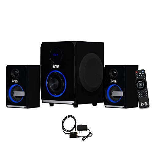Acoustic Audio AA2105 Bluetooth Home 2.1 Speaker System with LED Lights and Optical Input by Acoustic Audio by Goldwood
