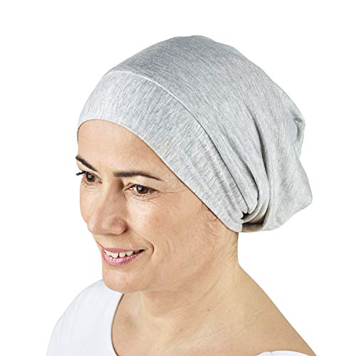 (ThickTails Satin Lined Sleep Cap - Slouchy Sleeping Beanie Hat. Premium Quality Headwear for Frizzy Hair Women. Ultra Soft, Smooth Natural Breathable Bonnet. Helps Prevent Hair Breakage and Frizziness)