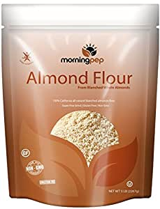 Morning Pep Bulk 5 Lbs 100 % All Natural Blanched ALMOND MEAL FLOUR Finely Ground - Gluten Free - Cholesterol Free Product of USA Large 80 Oz NEW LOOK large Resealable Stand Up Pouch Bag (packaging may vary)