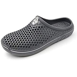 Amoji Unisex Garden Clogs Gardening Crocks Shower Shoes Slippers Quick Dry Summer Walking AM161 Grey 9 Women/7 Men