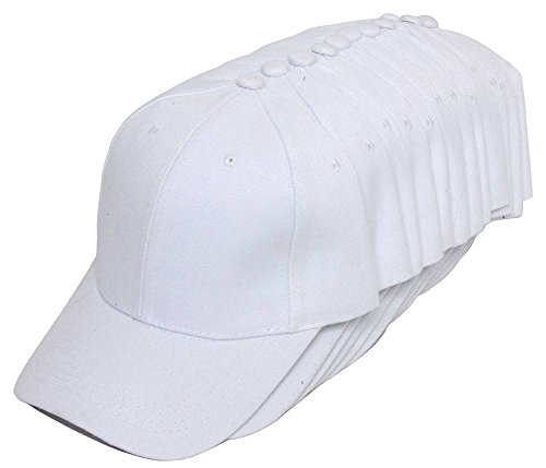 TopHeadwear 12-Pack Adjustable Baseball Hat - White -