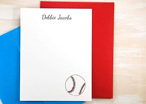 Personalized Stationery Set, Personalized Baseball Gifts Thank You Note Cards, Custom Stationary Set