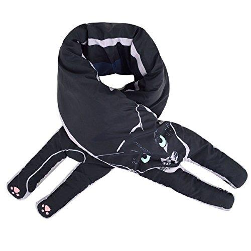 Prue Black Abben o oto coreana e Adorable engrosada invierno Cat Student Small Lines Warming bufanda en mujer BS6qpB