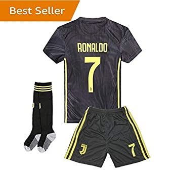 960930c1ef6 18-19 Season Juventus  7 Ronaldo Kids Youth Away Color Black Soccer Jersey