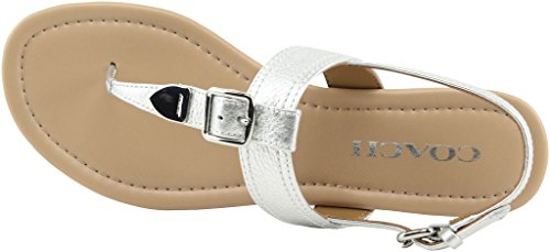 Coach Women¡¯s Cassidy Metallic Tumbled Sandals, Style A01627 Silver