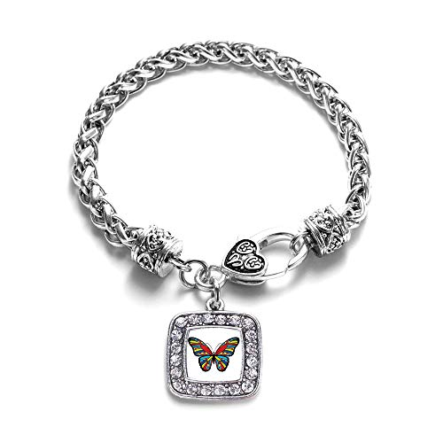 Inspired Silver - Autism Awareness Butterfly Braided Bracelet for Women - Silver Square Charm Bracelet with Cubic Zirconia ()