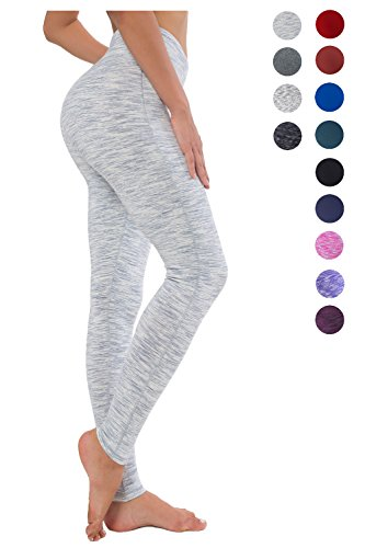 Queenie Ke Women Power Flex Yoga Pants Workout Running Leggings - All Color Size M Color White Grey Space Dye Long