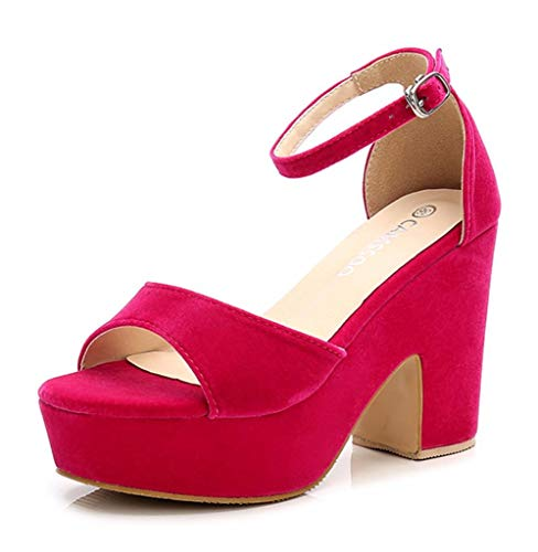 Pink Platforms Wedges Shoes - Women's Open Toe Ankle Strap Block Heeled Wedge Platform Sandals Fushia Velveteen US10 CN43