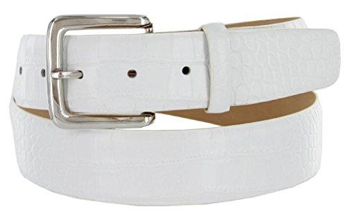 White Crocodile Belt (Valley View Women's Designer Leather Dress Belt (Alligator White, 38))