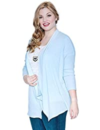 Plus Size Waffle Knit Open Front Cardigan