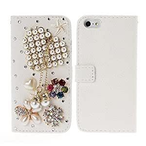 Bkjhkjy Heart Tassels and Flowers with Rhinestone Leather Case with Stand for iPhone 5/5S