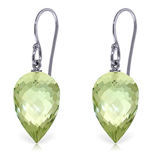 19 CTW 14K Solid White Gold Fish Hook Earrings Briolette Green Amethyst