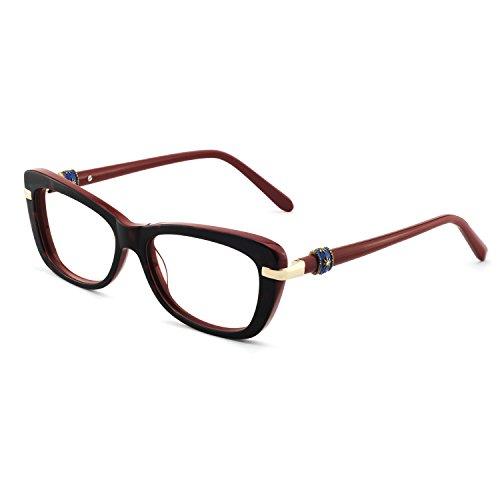 OCCI CHIARI Eyeglasses with Clear Lenses Fashion BAMI Acetate Frame (Red, 53)