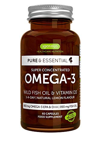 Pure & Essential Omega-3 Wild Fish Oil & Vitamin D3, High Strength Omega-3 EPA & DHA, Triglyceride, Lemon, 60 Capsules (Best Vitamin D Supplement Uk)
