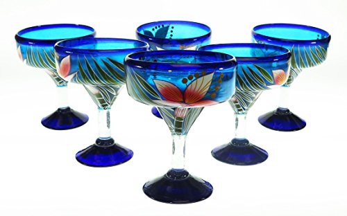 Mexican Glass Margarita Hand Painted White Orchid, 14 Oz, Set of 6 by Mexican Margarita Glasses (Image #4)