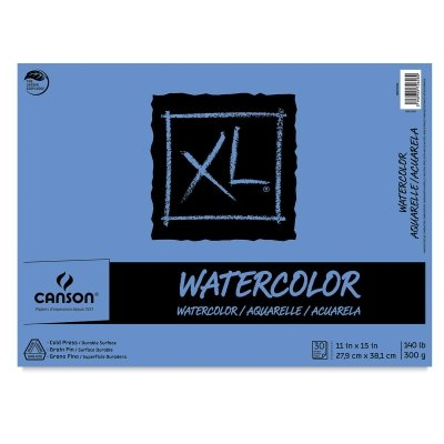 Canson XL Series Watercolor Textured Paper Pad for Paint, Pencil, Ink, Charcoal, Pastel, and Acrylic, Fold Over, 140 Pound, 11 x 15 Inch, 30 Sheets (7022446)