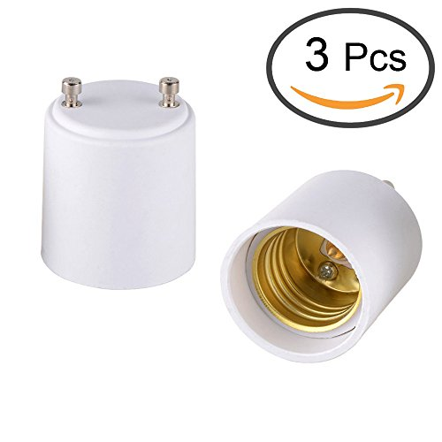 Zelta GU24 to E26 Bulb Adapter, Converts GU24 Pin Base Fixture to E26/E27 Standard Screw-in Socket, Packs of 3