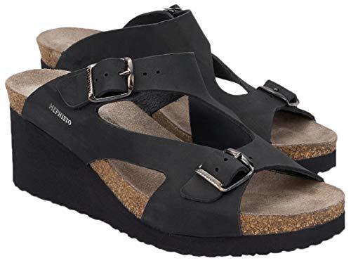 Mephisto Nubuck Sandals - Mephisto Women's Terie Black Nubuck 39 B EU