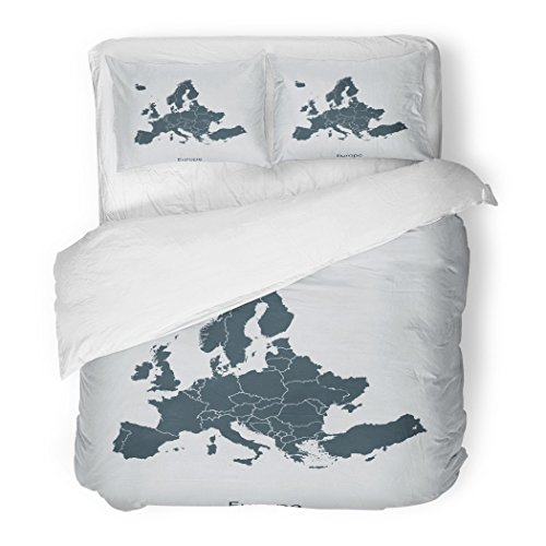 SanChic Duvet Cover Set Spain Map of Europe Cartography Collection Communication Continent Decorative Bedding Set with 2 Pillow Shams Full/Queen Size by SanChic