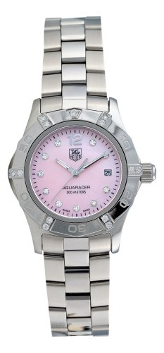 TAG Heuer Women's WAF141H.BA0824 Aquaracer Diamond Pink Mother-of-Pearl Dial Watch