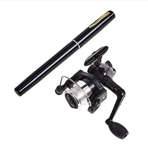 AINAAN Mini Portable Pocket Aluminum Alloy Fishing Rod Pen, 39 inch, Black (Pole Rod Fishing Pen Reel)