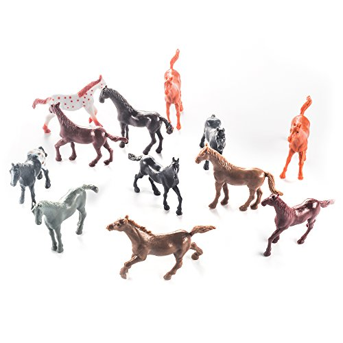 Fun Central AZ987, 12 Pcs, 2.5 Inches Assorted Vinyl Plastic Horse Toys, Horseland Horse Figures for Kids, Western Cowboy Horse Toys