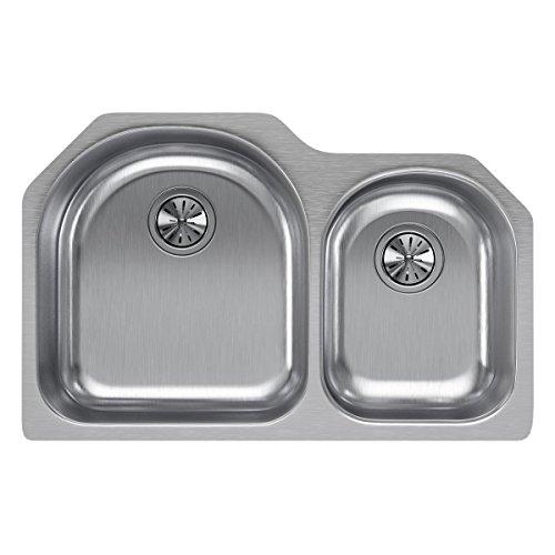 Elkay Lustertone ELUH311910R Offset 60/40 Double Bowl Undermount Stainless Steel Kitchen Sink