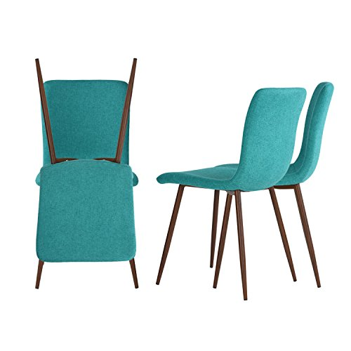 Set of 4 Dining Chairs Coavas Fabric Cushion Kitchen Chairs with Sturdy Metal Legs for Dining Room, Green by Coavas (Image #6)