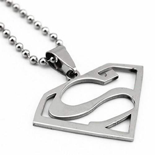 Superman Logo Stainless Steel Pendant w/ 30
