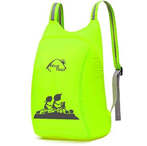 YYY-Al aire libre plegable ultraligero paquete de primavera y verano bolso casual para hombres y mujeres , dark green fluorescent green