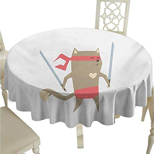Round Tablecloth Japanese,Crime Fighter Ninja Cat and Heart Cartoon Superpower Animal Fighter Funny Design,Red Brown D54,for Cards - Fighter Power Cards