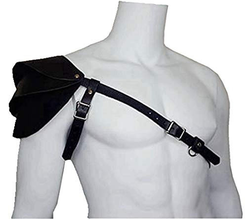 MSemis Men's Faux Leather Body Chest Harness One-Shoulder Guard Armor Costume