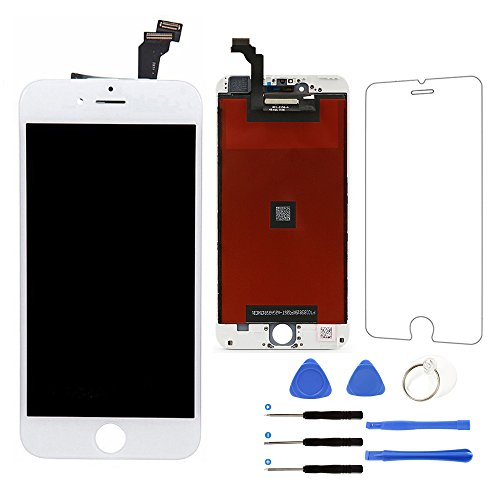 For iPhone 6 Plus Screen Replacement (White), LCD Touch Screen Digitizer Display Frame Assembly Kit with Repair Tools + Glass Screen Protector, iPhone 6 Plus 5.5 Inch Only from QIANZEY666