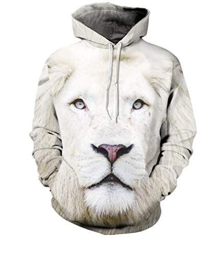 Unisex Couples Lovers White 3D Lion Print Loose Hoodies Blouse Tops Shirt Funny Cool Sweater (XXL, White)