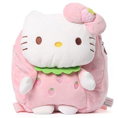 YOURNELO Kid's Cute Cartoon Figure Plush Toys Toddler Backpack for Preschool Boys Girls (Hello Kitty Pink Strawberry)