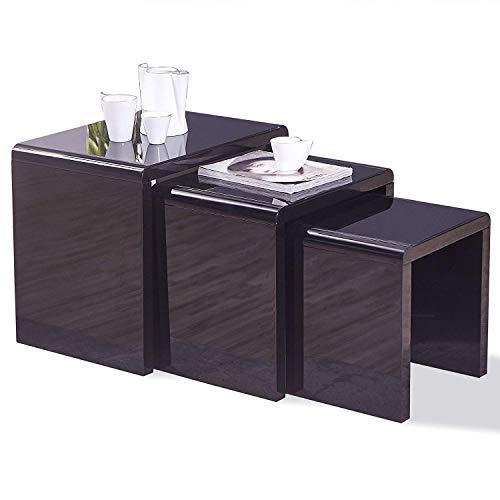 Mecor Nesting Coffee Table Set, 3 Piece Glass Top Modern Side End Table W/High Gloss Black for Living Room (MDF) (High Modern Gloss)