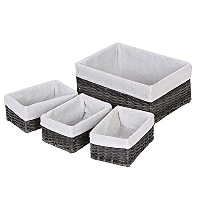 OCDLIVERER 4Set, Lx1&Mx3, Large Handmade Wicker Storage Baskets,Decorative Baskets and Bathroom Organizer for Living room,Bathroom ,Closet Organizer and Bath Beauty Products Organizer(Set 4,Grey)