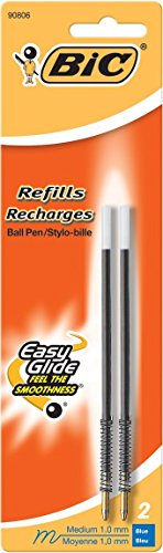 Bic Pen Refill for Wide Body/Velocity/Clear Clic, Medium Point, 2/Pack, Blue (Bic Body)
