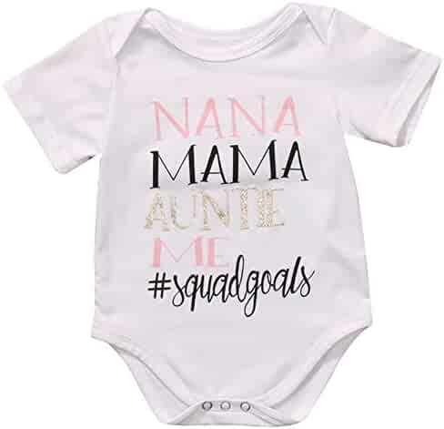 260a92328 Meipitgy Newborn Infant Baby Boy Girls Short Sleeve Letter Printed Bodysuit Romper  Jumpsuit Clothes, White