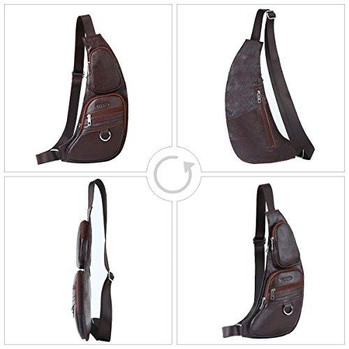 ocio marrón mochila para pecho Marrón para cuero Diario sintetica piel o de hombre pequeño Leathario Trabajo bolso YIHZPP