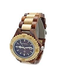Handmade Lady Wooden Watch Made with Natural Sandalwood in Red & Maple - HGW-064