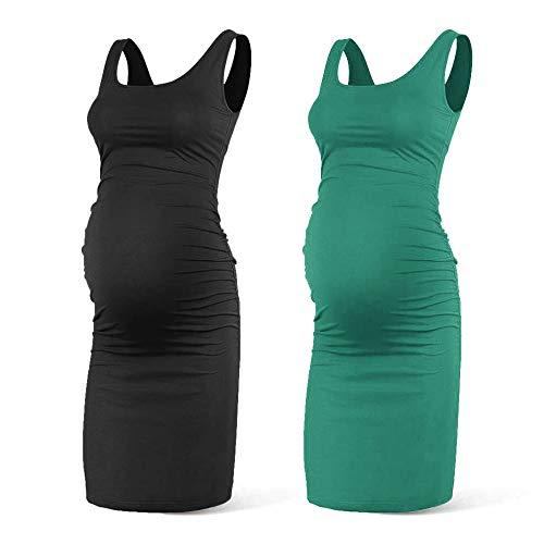 Rnxrbb Women Summer Sleeveless Maternity Dress Pregancy Tank Scoop Neck Mama Clothes Casual Bodycon Clothing,Black+Green-XL (Maternity Clothes)