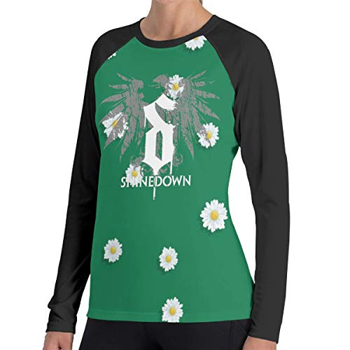 TroyTysona Womens Shinedown Music Band Daily Long Sleeves Raglan Contrast Color Tee XL Gift Black