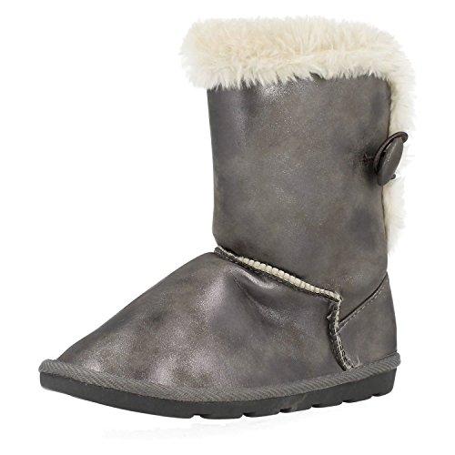 Spot on Mädchen Winter Stiefel Metallik Zinn
