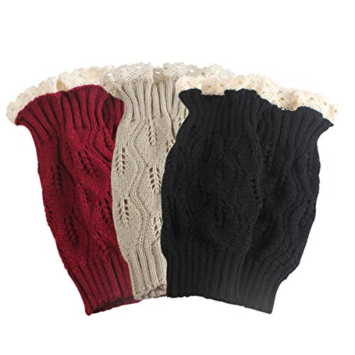 TQS Set of 3 Knit Boot Topper Cuff Leg Warmer Bootsocks Lace Crochet Detail,Medium, (Red,Black,Beige) -